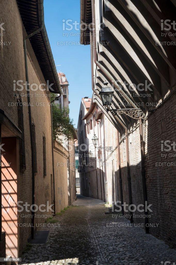 Forli (Italy): via Gaddi, old alley stock photo