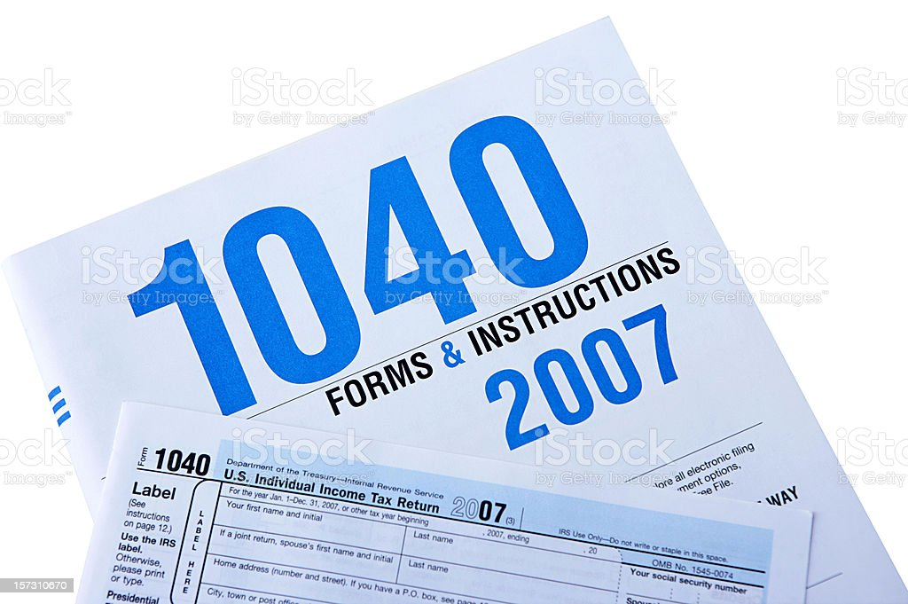 Form 1040 Isolated With Clipping Path royalty-free stock photo