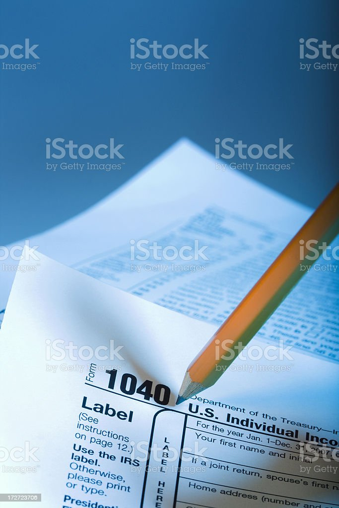 Form 1040 & Pencil stock photo