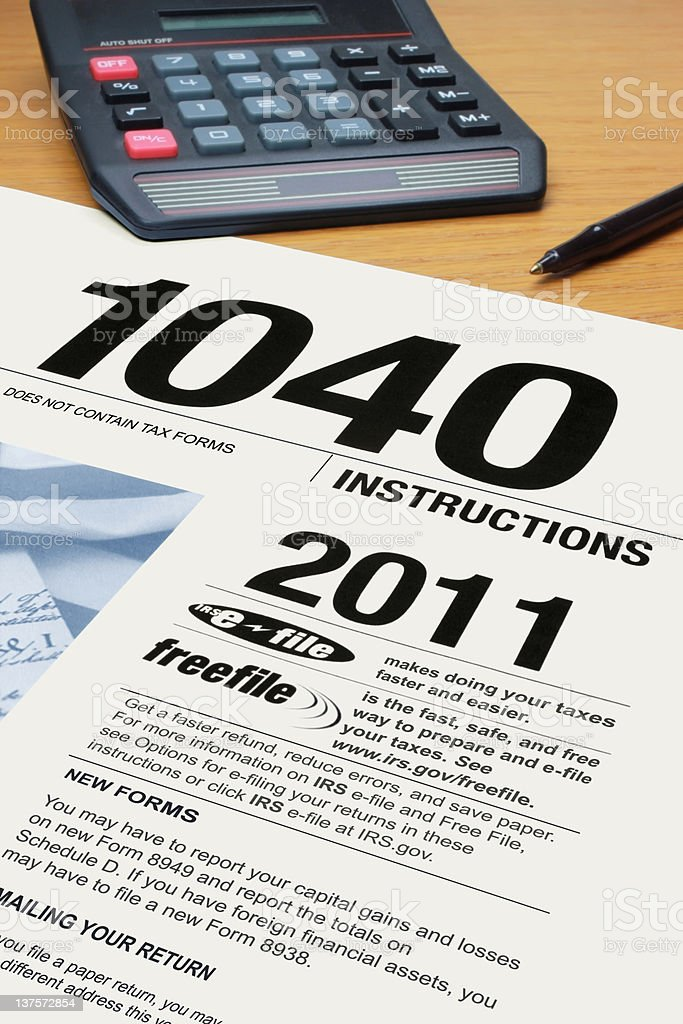 Form 1040 Tax Instructions For 2011 Stock Photo 137572854 Istock