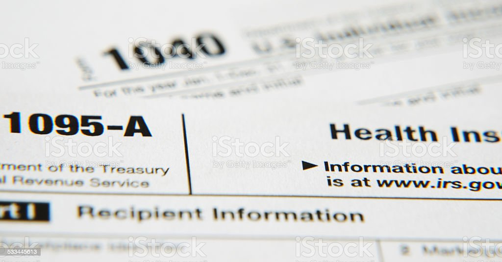 IRS form 1095-A (Affordable Health Care Act) stock photo