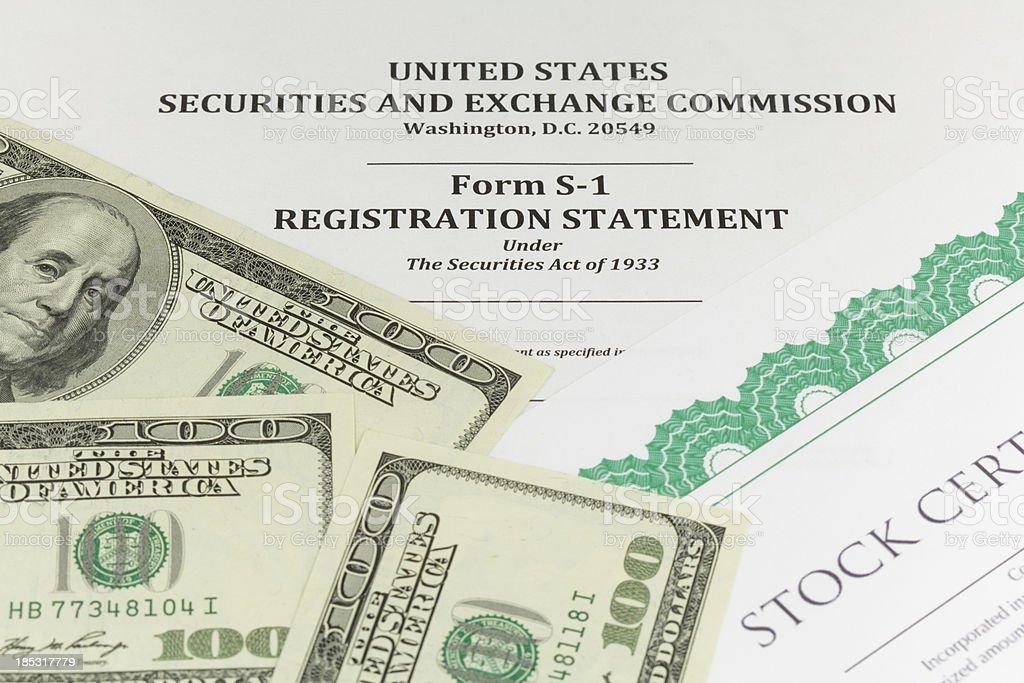 SEC Form S-1 (IPO concept) stock photo