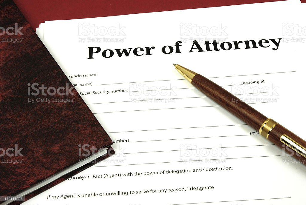 A form that says Power of Attorney at the top royalty-free stock photo