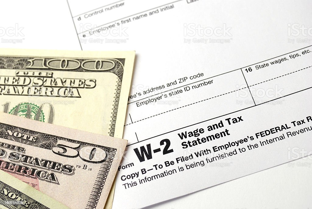 Form W-2 Wage and Tax Statement royalty-free stock photo