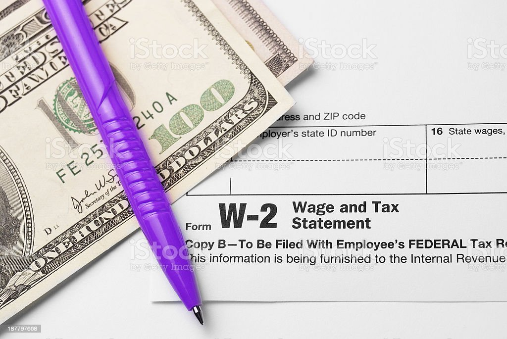 Form W-2 Wage and Tax Statement stock photo