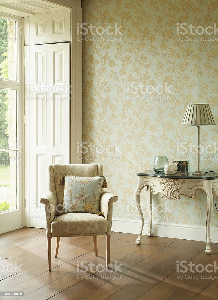 Formal Arm Chair In Window royalty-free stock photo