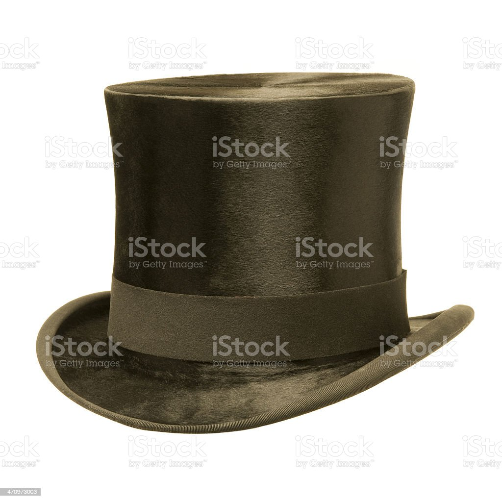 Formal Black Top Hat against White stock photo
