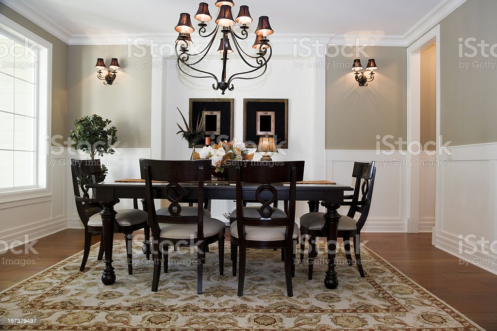 Formal Dining room Interior architecture design wood floors table stock photo