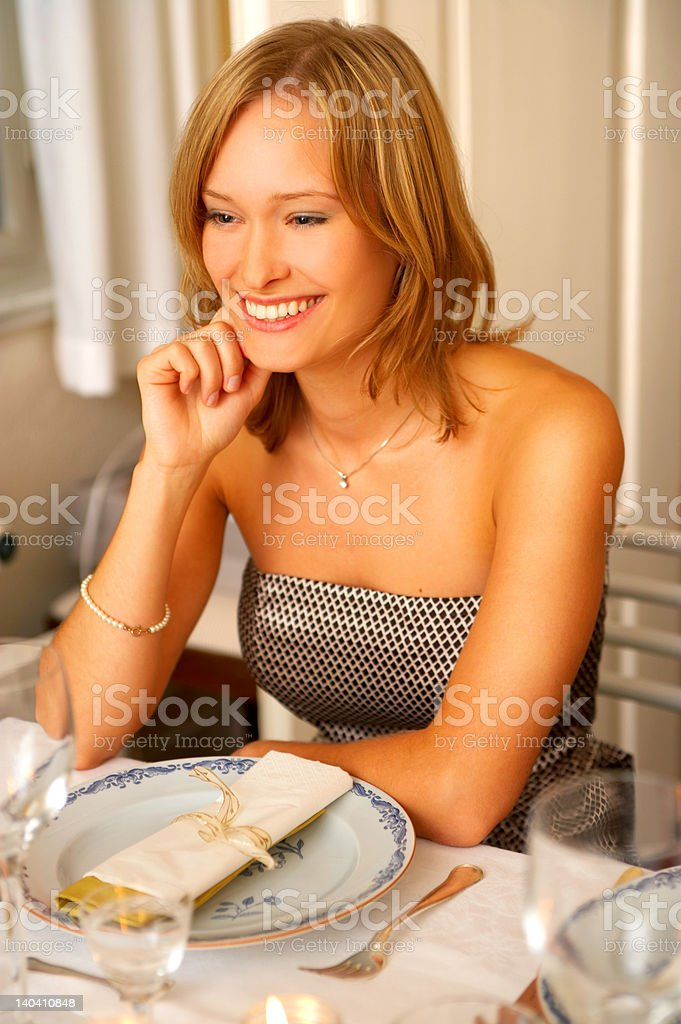 Formal dinner at a restaurant royalty-free stock photo
