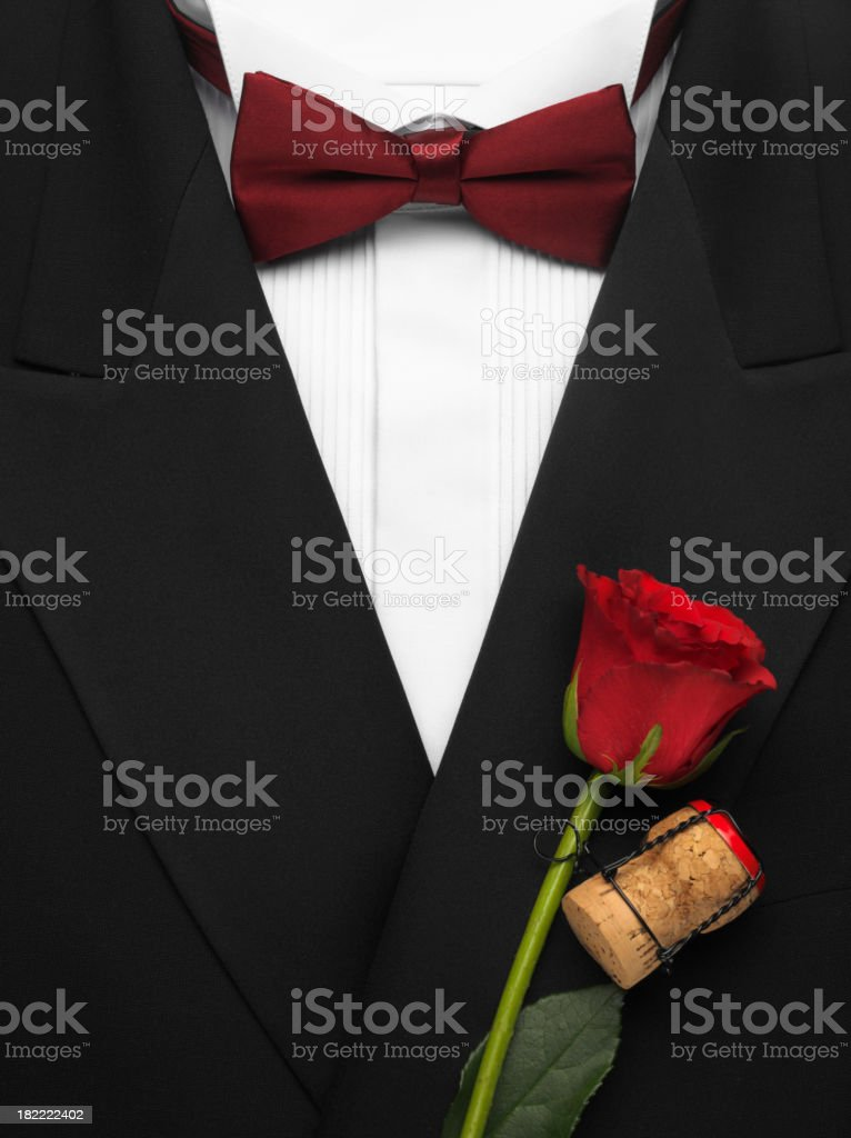 Formal Dinner Jacket with Bow Tie and Red Rose stock photo