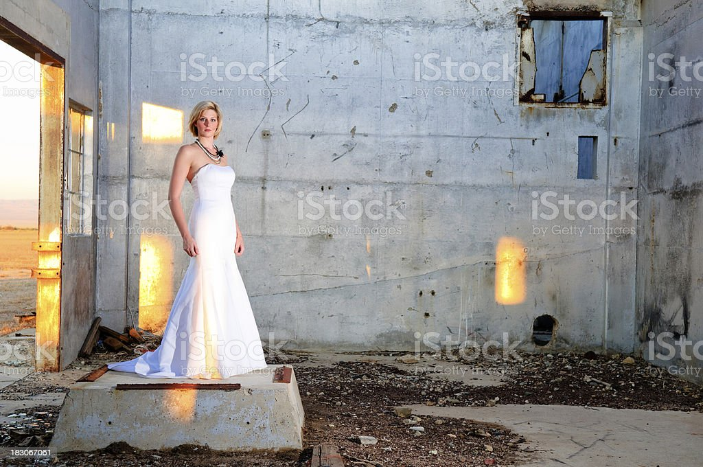Formal Dress in Abandoned Structure royalty-free stock photo