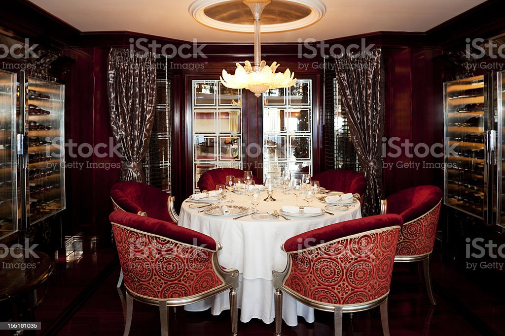 Formal Elegant Dining Room table set for service of six stock photo