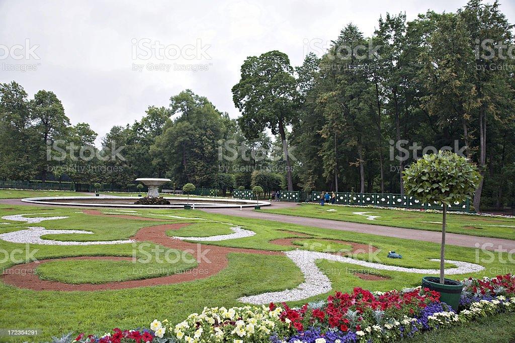 Formal Garden at Peterhof, St. Petersburg, Russia stock photo