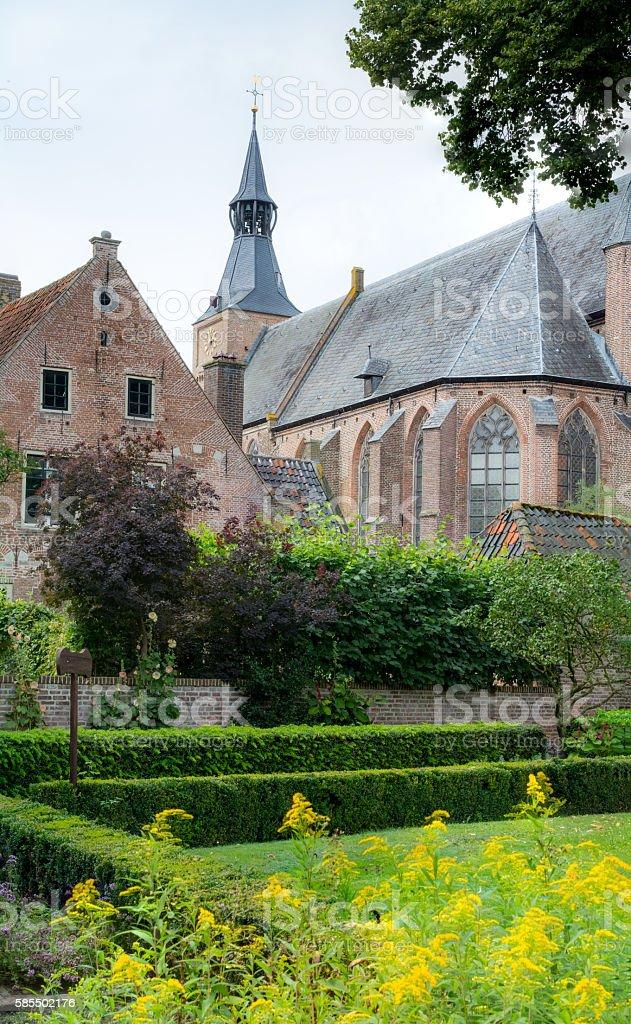 Formal garden in historic dutch 9th century parish city Hattem stock photo