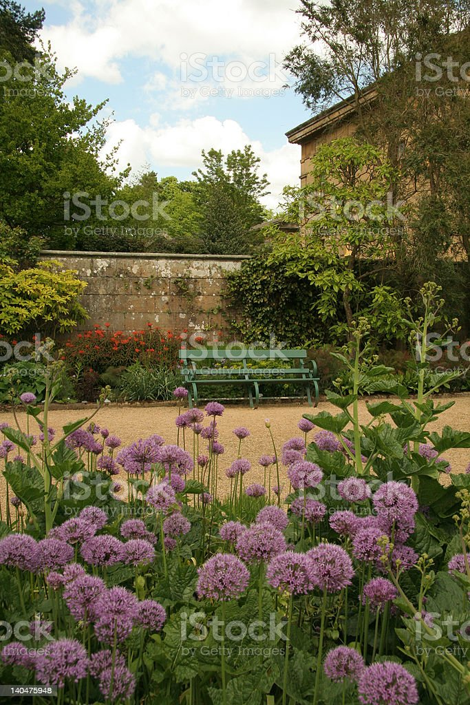 Forma;l gardens at Belsay Hall stock photo