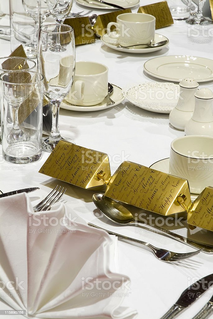 Formal place settings for a corporate christmas dinner royalty-free stock photo