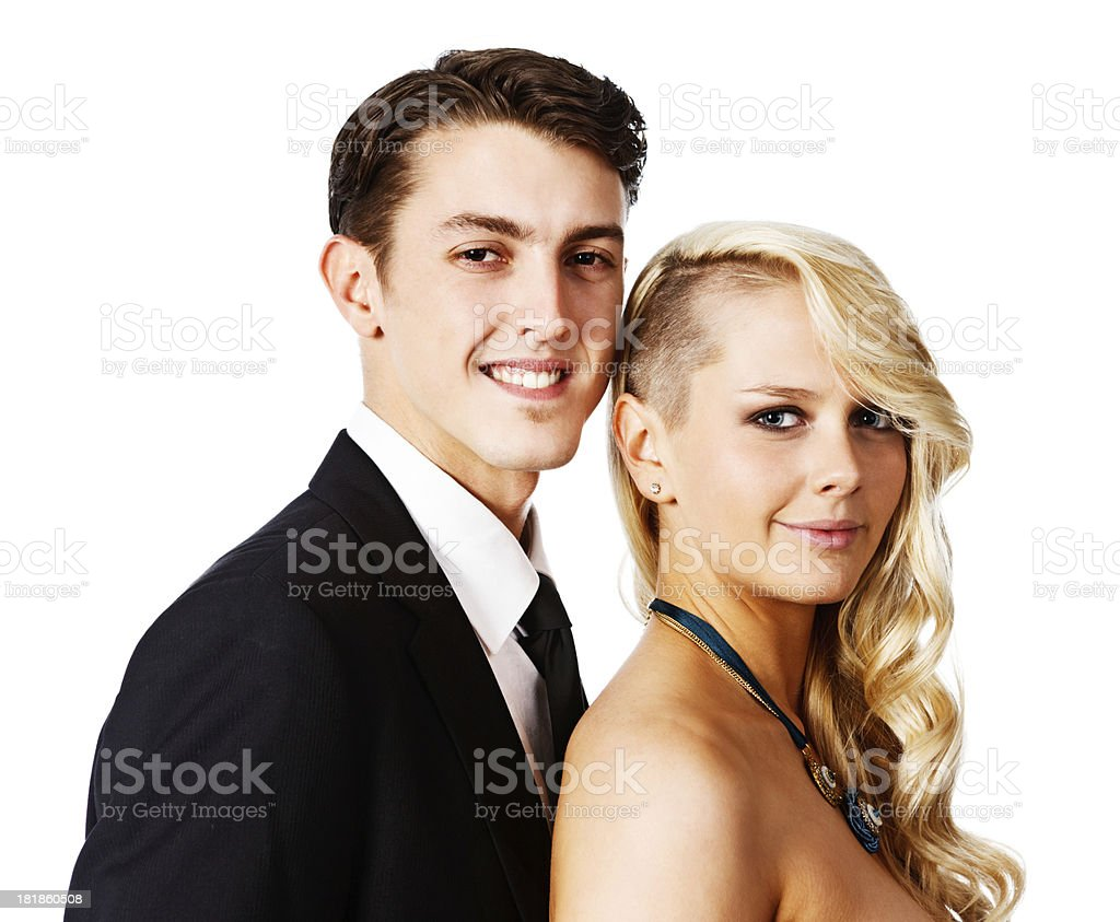 Formal portrait of good looking, smiling young couple royalty-free stock photo