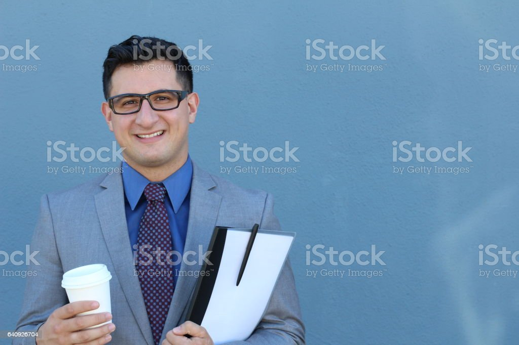 Formal successful businessman smiling stock photo