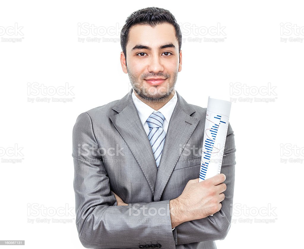 Formal young businessman with papers, isolated on white royalty-free stock photo