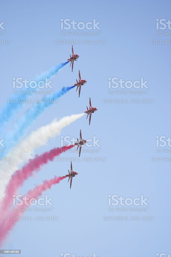 Formation flight of the  Red Arrows royalty-free stock photo