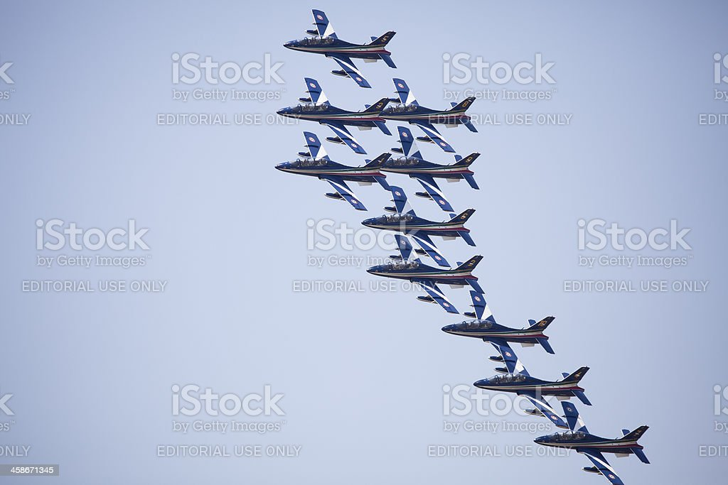 Formation flights of military airplanes royalty-free stock photo