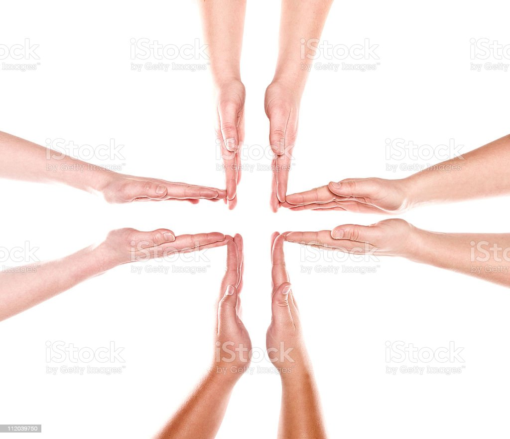 Formation of human hands stock photo