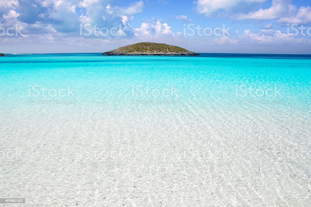 Formentera beach illetas white sand turquoise water stock photo