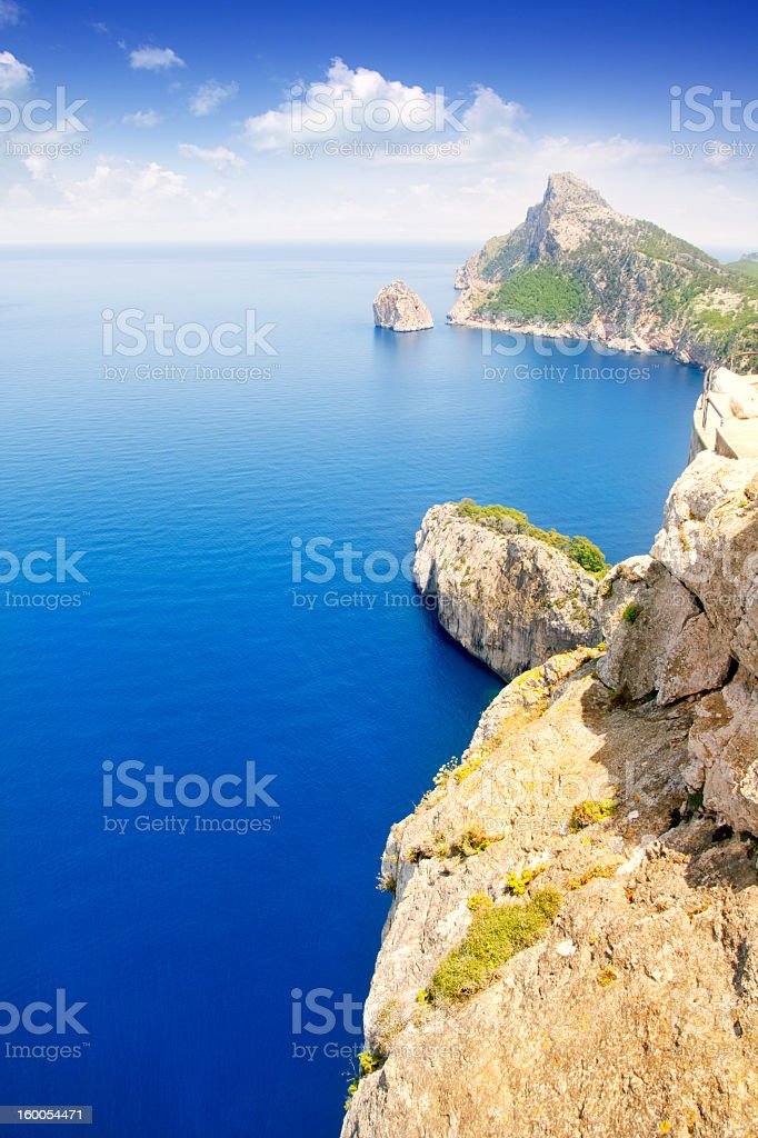 Formentor cape to Pollensa aerial sea view in Mallorca royalty-free stock photo