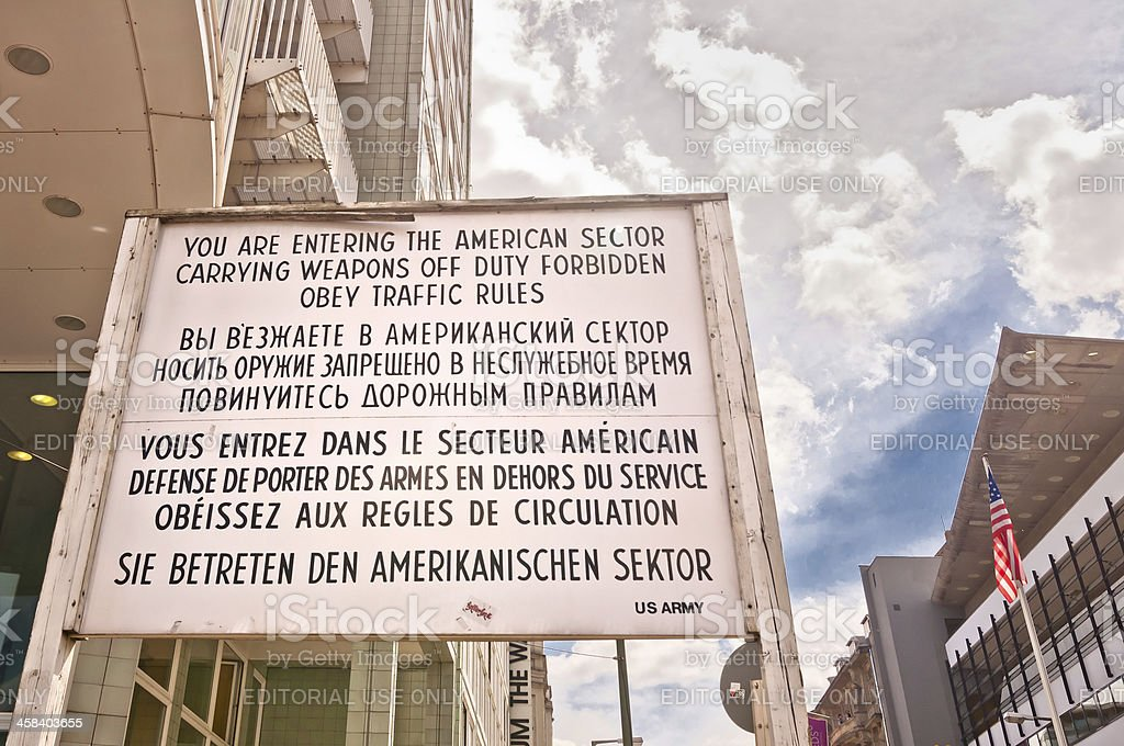 former border cross checkpoint Charlie in Berlin stock photo
