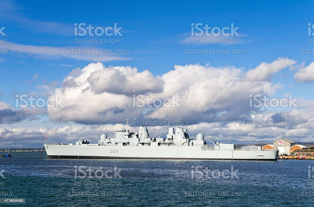 Former destroyer 'Bristol' at Portsmouth royalty-free stock photo