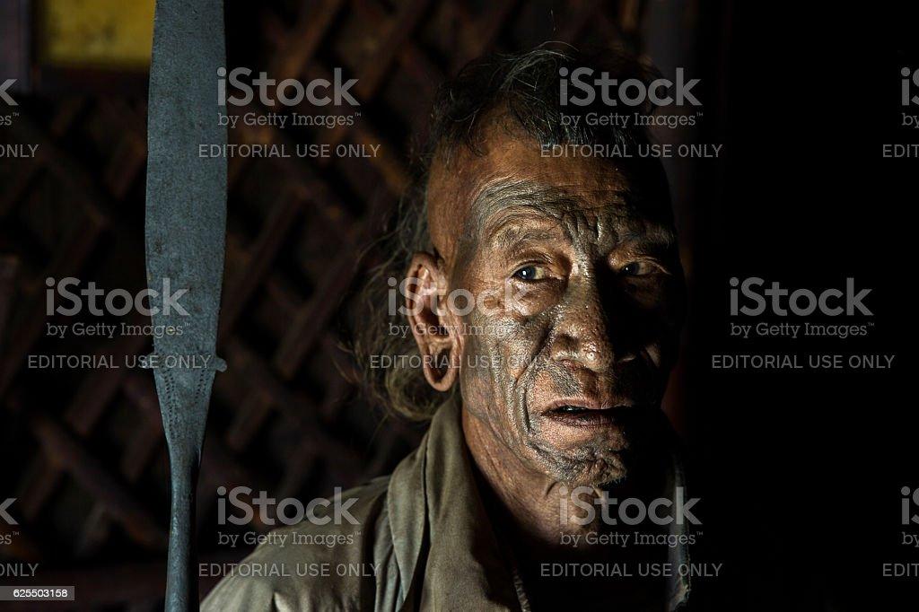 Former headhunter of Longwa Village, Nagaland, India. stock photo