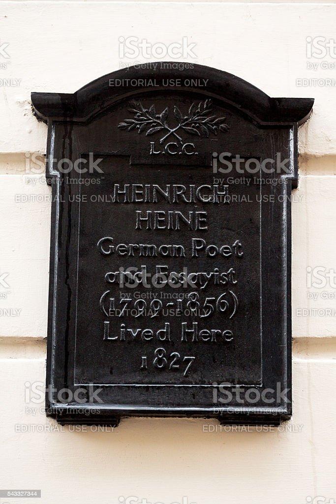 Former home of Heinrich Heine 32 Craven Street stock photo