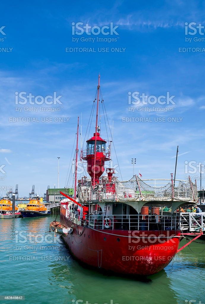 Former lightship and pirate radio station at Harwich stock photo