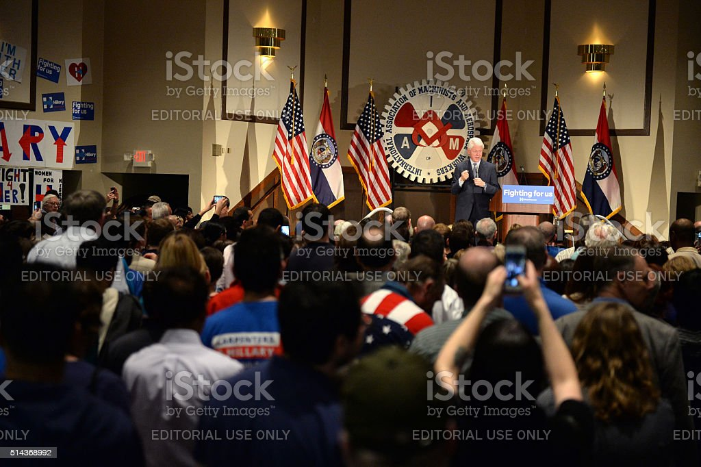 Former President Bill Clinton Speaks at Hillary Rally stock photo