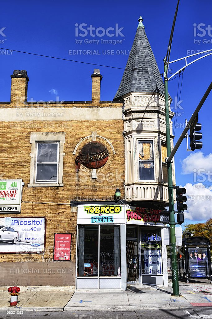 Former Schlitz Brewery Tied House, McKinley Park, Chicago stock photo