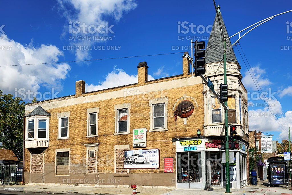 Former Schlitz Brewery Tied House, McKinley Park in  Chicago stock photo