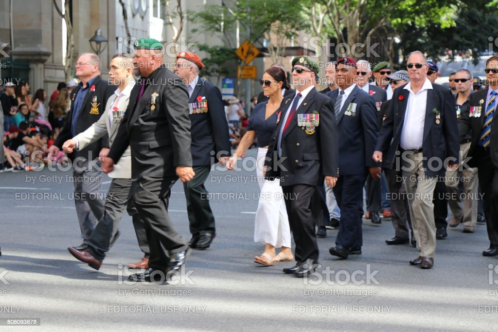 Former soldiers march stock photo