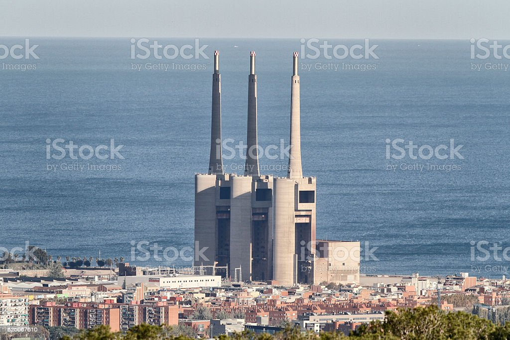 Former thermal power station today in disuse. stock photo
