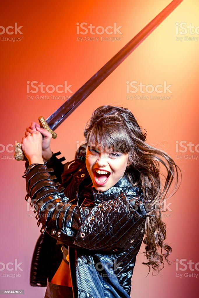 Formidable female warrior stock photo