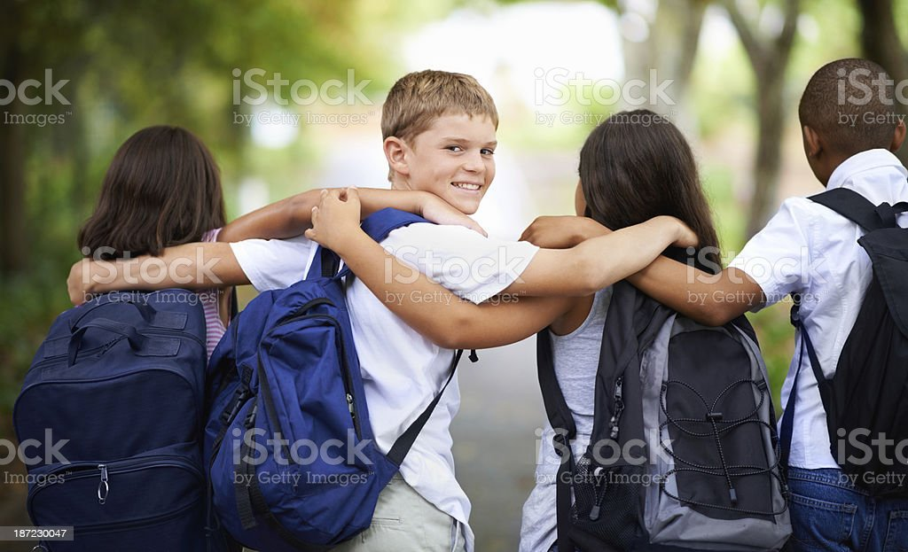 Forming good friendships at school stock photo