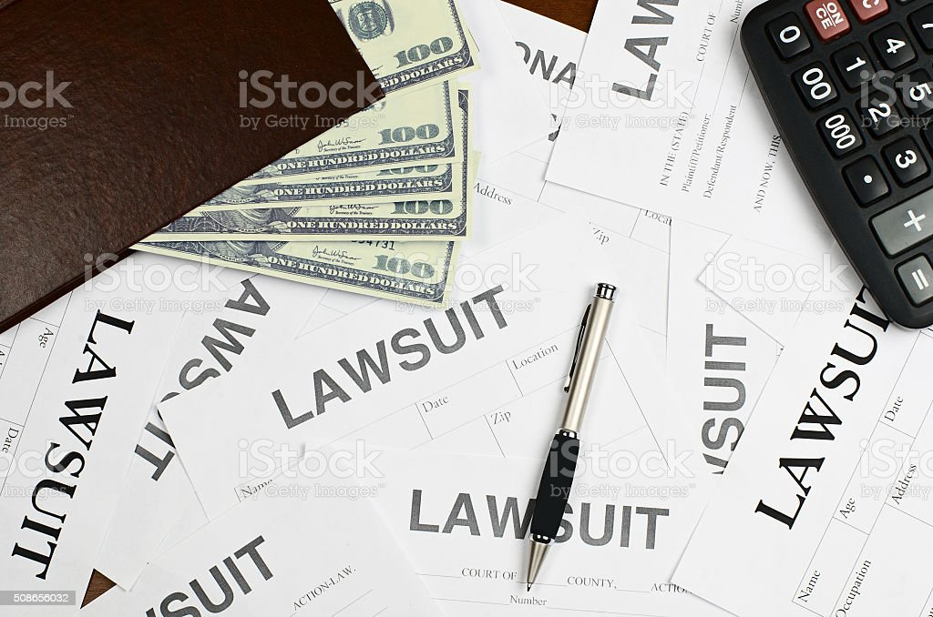 Forms lawsuit is on the table stock photo