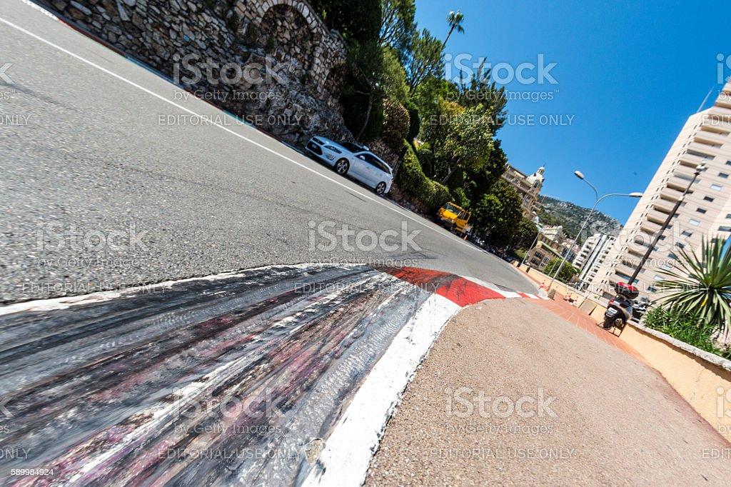 Formula 1 Grand Prix skid marks in Monaco stock photo