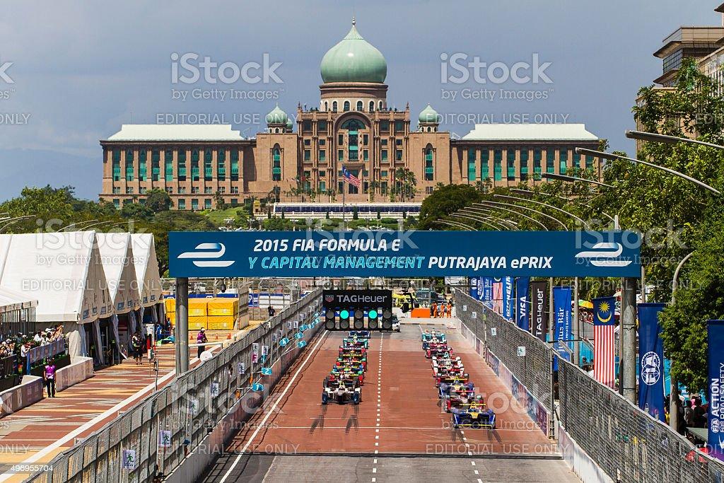 Formula E Starting Grid in Putrajaya stock photo