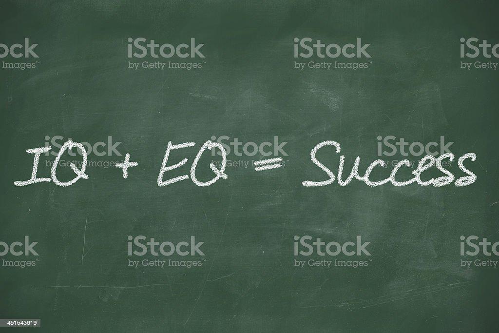 Formula for success equals IQ+EQ stock photo