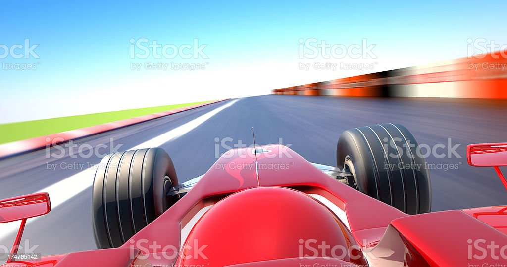 Formula One car racing - cockpit view stock photo