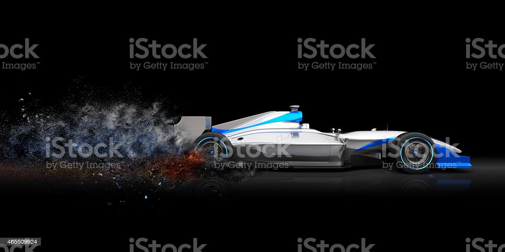 Formula One car with trail of dust stock photo