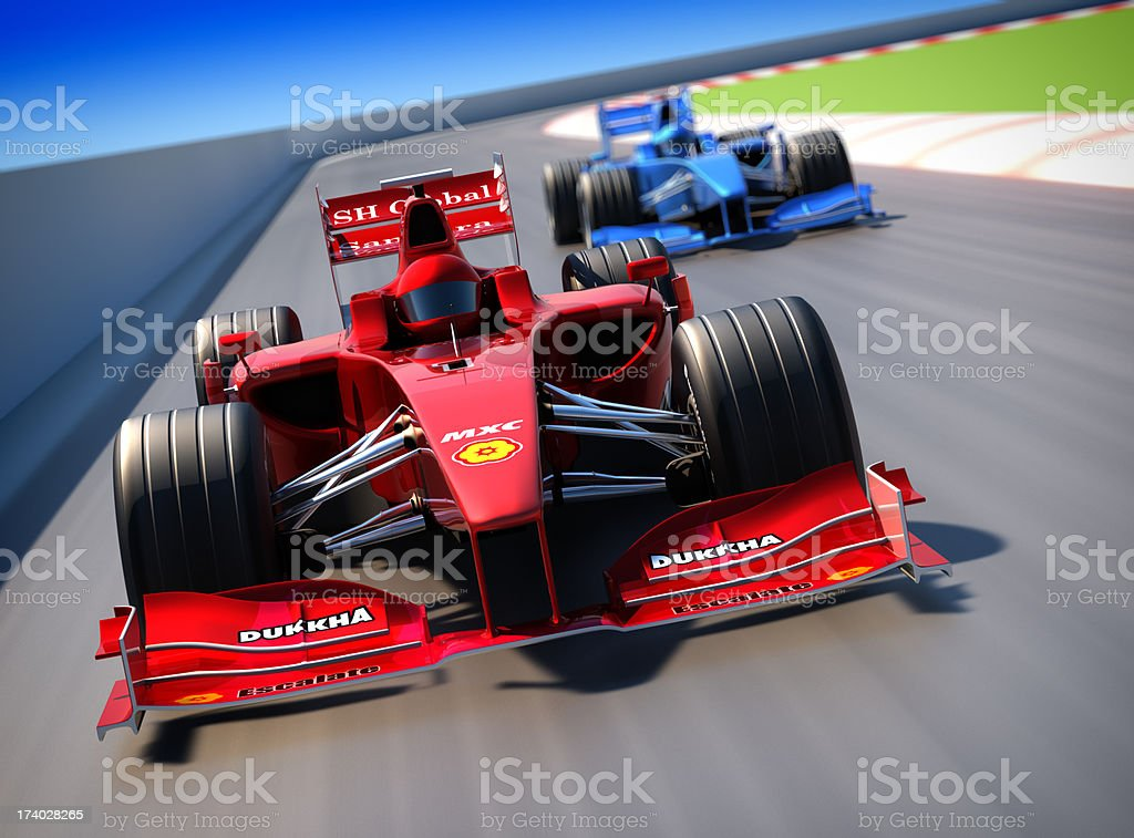 Formula One cars racing, clipping path included stock photo