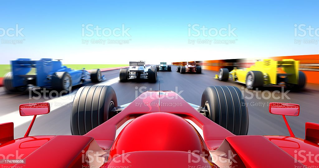 Formula One cars racing - cockpit view stock photo