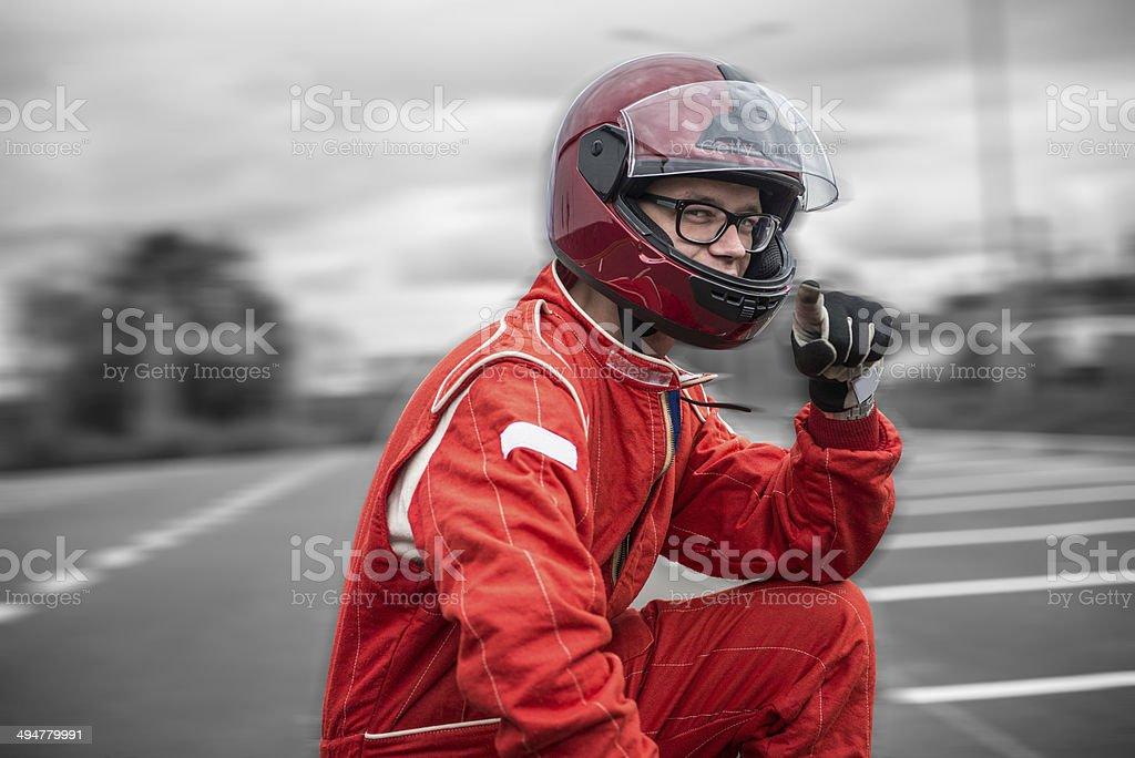 Formula one pilot stock photo