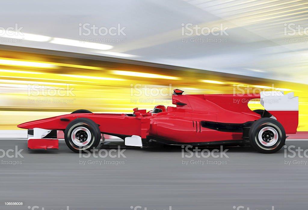 formula one race car on speed track stock photo